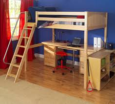 knockout high loft bed with desk and 2 drawers in natural by maxtrix 570