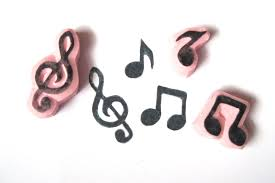 music note stamp music note and treble clef hand carved rubber stamp set 8 00 usd