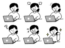 パソコン操作する女性のイラストセット 無料イラスト素材素材ラボ