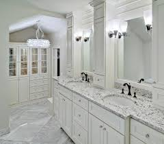 View in gallery White ice granite in a bright and airy powder room