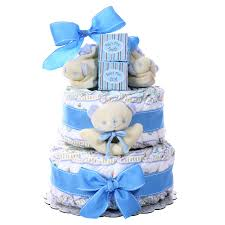 Baby Cakes 2 Tier Diaper Cake Boy Gift Baskets Plus
