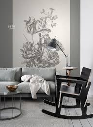 Dit Prachtige Behang Met Een Stilleven Met Bloemen In Zwart Wit Is