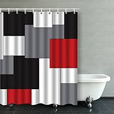 black shower curtains. Accrocn Waterproof Shower Curtain Curtains Fabric Wavy Vertical Stripes Red Black White And Grey 60x72 Inches