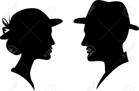 男と女の顔の姿勢のシルエット男性女性のカップル