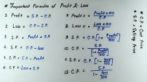 Profit And Los Profit Loss Profit And Loss Important Formulas