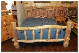 furniturerustic brown teak bed frame with grey bed sheet on dark brown wooden floor rustics log furniture