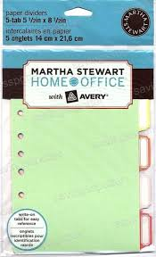 5 5 x 8 5 paper martha stewart home office avery 5 tab paper dividers 5 5 x 8 5 ebay
