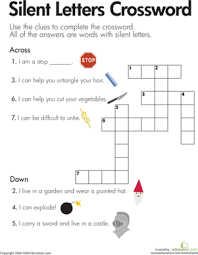 This file does not contain graphics. Silent Letters Crossword Worksheet Education Com Phonics Worksheets Reading Worksheets Spelling For Kids