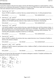 Lab 13 Qualitative Analysis Of Cations And Anions Pdf