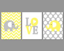elephant nursery wall art prints yellow grey love chevron polka dots set of 3 1 of 4free
