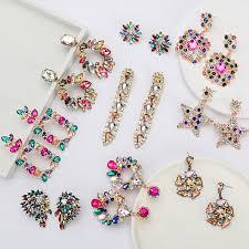 Pauli Manfi <b>2019 New</b> Fashion Colorful Rhinestone <b>Earrings</b> ...