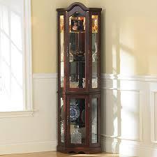cabinet corner curio wood glass door shelf trophy curved glass corner curio cabinet