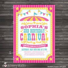 Carnival Birthday Invitations Carnival Birthday Invitation Printable Circus Birthday