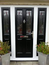 ... Stupendous Black Front Doors With Glass Photo Inspirations Furniture  Endearing Small Porch Decoration Using Single Wooden ...