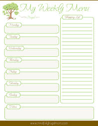 weekly menue planner frugal meal planning printable mindfully frugal