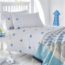 triple stars embroidered bed linen a crisp white duvet cover
