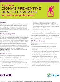 Cigna S Preventive Health Coverage Pdf Free Download