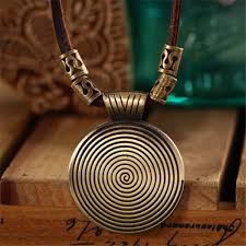 high quality cool rock pendant long leather chain necklace womens fashion