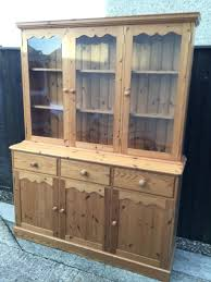 country style large solid pine dresser display cabinet with glass doors