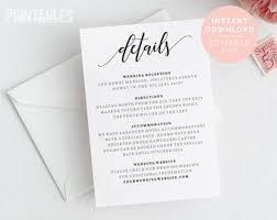 Wedding Enclosure Card Template Invitation Enclosure Etsy