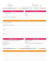 babysitter information sheet printable babysitter information sheet template pet sitter checklist template