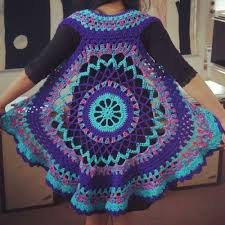 Crochet Circular Vest Pattern Free Mesmerizing Crochet Mandala Vest Pattern Free Google Search Blocks And