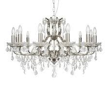 12 light chandelier clear crystal drops trim satin silver