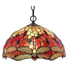 2 Light Tiffany Style Dragonfly Pendant