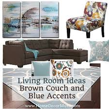 brown couch and blueaccents living room