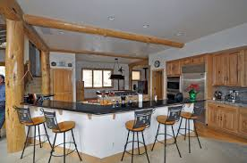 l shape kitchen decoration using rustic black wrought iron