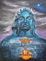 shiva aadiyogi painting by artist arjun das acrylic canvas