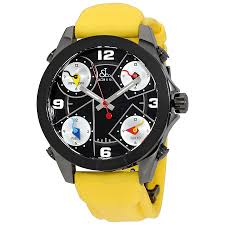 jacob and co five time zone black dial yellow strap men s watch jacob and co five time zone black dial yellow strap men s watch jcm 71bc