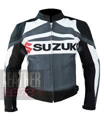 summer leather motorcycle jacket biker armoured coat suzuki gsx grey
