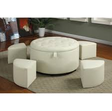 attractive living room storage ottoman round white leather coffee table sets tufted cream tile pattern area rugs brown wooden laminate flooring contemporary