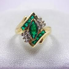 emerald rings differences between the real and synthetic. Solid 10K Yellow Gold Diamond And Synthetic Emerald Ring Rings Differences Between The Real L