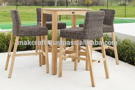 wood patio bar set. Cheap Outdoor Wicker PE Wooden Bar Stools Set Rattan High Garden Furniture- Synthetic Wood Patio T