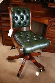 office chair upholstery. Typist Swivel Desk Chair. Bottle Green Leather. Buttoned Upholstery. Office Chair Upholstery