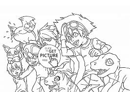 Digimons Team Coloring Page For Kids