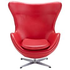 Modern Red Leather Accent Chair