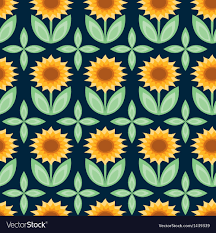 Sunflower Pattern Simple Sunflower Pattern Royalty Free Vector Image VectorStock