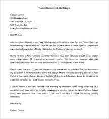 Sample Retirement Letter Letter To Teacher Resignation