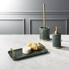 Green Marble Bath Accessories CB2