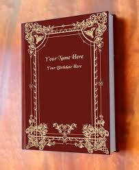 burgundy leather book cover with gold filigree