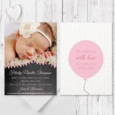 Printed Birth Announcement Blackboards And Balloons Baby Girl Photo Birth Announcement Peach
