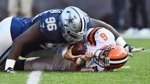 nov 6 2016 cleveland oh usa dallas cowboys defensive tackle maliek collins 96 sacks cleveland browns quarterback cody kessler 6 during the second