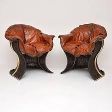 Venus Vintage Sessel Aus Leder Korbgeflecht Von Pieff 1970er 2er Set