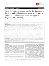 The Oral Glucose Tolerance Test For The Diagnosis Of Diabetes