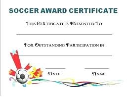 Free Soccer Certificate Templates Soccer Participation Certificate Award Templates Free
