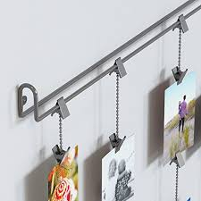 Amazon.com - Hanging Photo Organizer Rail With Chains and 32 Clips Gray -
