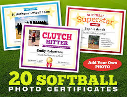 softball award certificate softball photo certificates player and coach awards team recognition